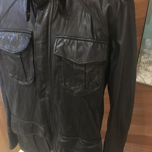 MENS MIKE & CHRIS WASHED LEATHER JACKET M MADE USA